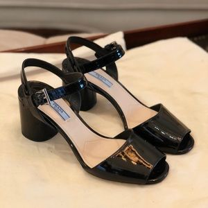Prada Patent Leather Round Heel Sandal